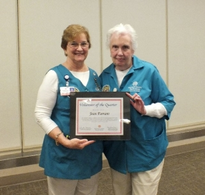 Jean Farrant Receives Volunteer of the Quarter